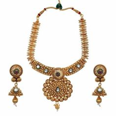 Aaishwarya Stunning Golden Necklace Set #necklaceset #goldennecklaceset #ethnicjewellery
