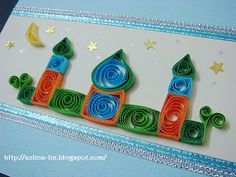 Lin Handmade Greetings Card: Quilled crescent