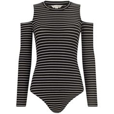 Miss Selfridge Stripe Cold Shoulder Body ($28) ❤ liked on Polyvore featuring bodysuits, tops, body, outfits, black and white, miss selfridge, striped jersey and black and white jersey