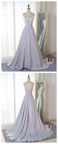 Gray v neck lace long prom dress, evening dress P1564 #promdresses #longpromdress #2018promdresses #fashionpromdresses #charmingpromdresses #2018newstyles #fashions #styles #hiprom #silvergrayprom