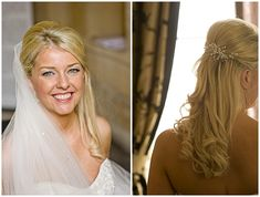 Half up/ half down wedding hair with veil - maybe more curls and no bump on top -www.weddinglight.com/
