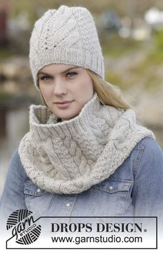 "Set of hat and neck warmer with cables and textured pattern in ""Nepal"". #knit DROPS Design"