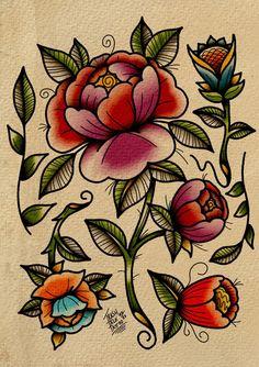 Traditional Tattoo Leg Sleeve, Traditional Tattoo Sketches, Traditional Tattoo Flowers, Traditional Tattoo Old School, Traditional Style Tattoo, Traditional Roses, Traditional Sleeve, American Traditional, Carnation Flower Tattoo