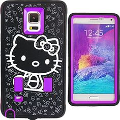Cute Generic Hello Kitty Hybrid Women & Teen Girls Protector Case for Samsung Galaxy Note 4 Purple Black & White Shockproof AntiShock Anti-Slip Bow Strong Girly Protective Skin Dual Layer 2 in 1 Silicone Rubber Gel & Hard Thin Slim Cover with Anti-Bubble Screen Protector & Stylus FREE GIFT HELLO KITTY PRINCESS KITTY STICKER