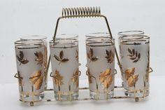vintage Libbey glass Golden Foliage gold leaf leaves print drinking glasses set in carrier rack