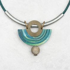 Green statement necklace Half circle necklace Bib necklace