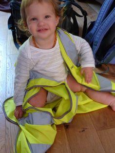#totsbots Day 11 - Looking very trendy having dressed herself in her Dad's hi-vis!