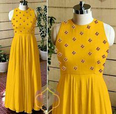 New Designer Long Kurti (Mustard) Simple Kurti Designs, Choli Designs, Kurta Designs Women, Blouse Designs, Long Kurti Patterns, Frock Patterns, Designer Gowns, Indian Designer Wear, 2t Girl Clothes