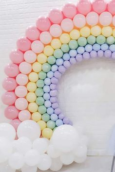 Pretty Pastel Party Rainbow Balloons: A pastel colored balloon rainbow can be ma. - Pretty Pastel Party Rainbow Balloons: A pastel colored balloon rainbow can be made by using this bal - Rainbow First Birthday, Unicorn Birthday Parties, Birthday Party Themes, Birthday Ideas, 1st Birthday Balloons, Ballons Pastel, Rainbow Balloons, Décoration Baby Shower, Baby Showers