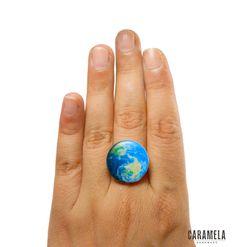 Earth ring by CaramelaHandmade on Etsy