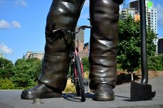 Cyclist Big Foot by Claude Charbonneau on Bigfoot, Hunter Boots, Bicycles, Rubber Rain Boots, Riding Boots, Cycling, Leather Pants, Shoes, Fashion