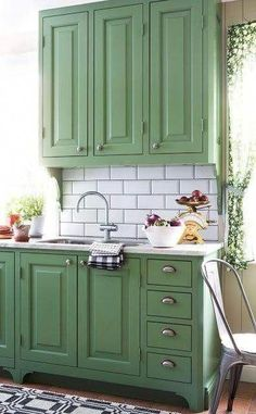 21 Colorful Kitchens Trending This Year #kitchencabinets #kitchen #greenkitchen #greenkitchencabinets