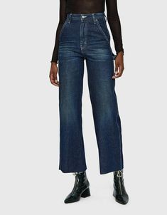 High-waisted denim trousers from Maison Margiela in Dark Wash. Zip fly with top button closure. Front slash pockets with large coin pocket. Raw, straight cut h High Waisted Denim Jeans, High Waist Jeans, Colored Skinny Jeans, Denim Branding, Pants For Women, Clothes For Women, Pants Outfit, Jean Outfits, Stretch Denim