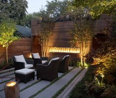 The use of light in this patio design is awesome