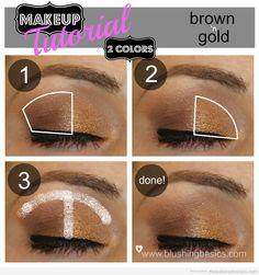Tutorial paso a paso,Maquillaje de ojos en marrón y dorado
