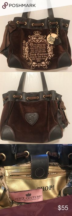 Authentic Juicy Couture handbag Beautiful brown leather and velvet Juicy shoulder bag. A 2-tone ribbon is threaded through the grommets along the top, ending in a bow. Large gold inside zipped pocket. 1 outside pocket on a side. Inside gold lining has the words love, juicy, and crowns imprinted on the fabric in brown lettering. 2 small interior pockets. Heart-shaped gold mirror is attached to a pocket with original clear plastic protector in place over the mirror. The lining has a few pen…