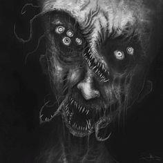 Dark zombie horror art: screams by eemeling on deviantart. Creepy Images, Creepy Pictures, Monster Concept Art, Monster Art, Arte Peculiar, Lovecraftian Horror, Horror Artwork, Arte Obscura, Dark Art Drawings