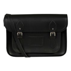 The Cambridge Satchel Company 15 Inch Classic Leather Satchel - Black found on Polyvore featuring polyvore, fashion, bags, handbags, leather satchel handbags, black leather purse, leather purse, leather handbags and black leather satchel