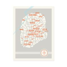Show off your favorite city with this map print of Atlanta, Georgia. Modern design with over 30 labeled neighborhoods. Artisan made in USA.