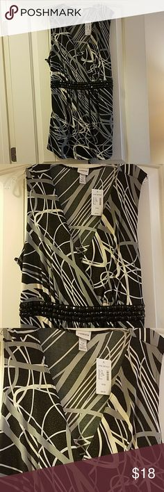 Lane Bryant Beaded Shimmery Sleeveless Top NWT Super cute band new beaded sleeveless dress top.  The middle has pretty black jewel like beads.  The fabric has a subtle shimmer to it.  Very flowy. There is a tie in the back to make it as loose or form fitting as you'd like. Size 18/20. Lane Bryant Tops