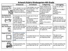 K-4th general art rubric