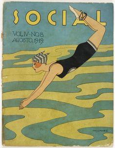 Social magazine (Havana), August Cover art by C. Magazine Cover Design, Magazine Art, Magazine Covers, Art Deco Illustration, Fashion Illustration Vintage, Art Nouveau, Inspiration Art, Art Deco Posters, Popular Art
