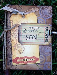 Birthday card made for Mum to give my brother. Birthday Cards For Son, Sons Birthday, Handmade Birthday Cards, Handmade Cards, Happy Birthday, Men's Cards, Diy Cards, Greeting Cards, Pretty And Cute