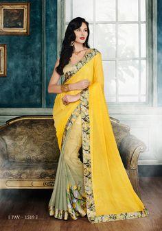 #Yellow And Beige #Georgette #Printed Half N Half #Sarees #nikvik  #usa #designer #australia #canada #freeshipping #sari #print