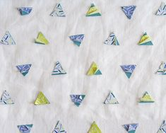 Beautiful curtain and decoration fabric with printed triangle shapes embroidered on a linen base. The semi losen shapes are extremly stimulating for children and babies. Beautiful Curtains, Triangle Shape, Color Show, Confetti, Applique, Carpet, Shapes, Cool Stuff, Wallpaper
