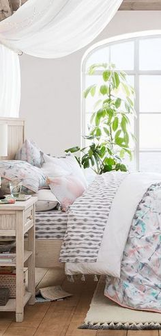 Elegant ruffles bedding comforter in painterly pastel hues. The Watercolor Prism Comforter instantly adds an artistic flair to a child's bedroom. It's light and airy and has a silky-soft layer – perfect for completing a totally chic bedding set. Bedroom Bed, Girls Bedroom, Bedroom Decor, Bedrooms, Bedroom Ideas, Teen Girl Bedding, Girls Bedding Sets, Ruffle Quilt, Ruffle Bedding
