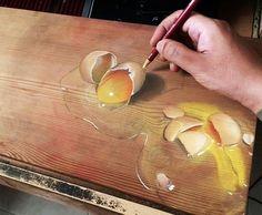 Ivan Hoo, dessins sur bois, surréalistes, trompes l'œil