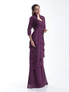 De largo Acanalada De Gasa Boda Madre Del Vestido De Novia + Gratis Bolero Custom Vestido