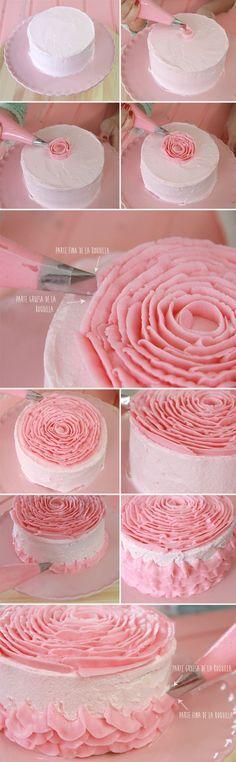 Ruffle Cake Easy DIY Tutorial Video Ideas Images