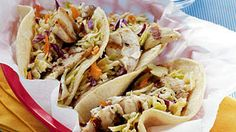 Fish Tacos With Sesame Ginger Slaw | These lightened recipes turn up the heat, but keep the calorie count low.