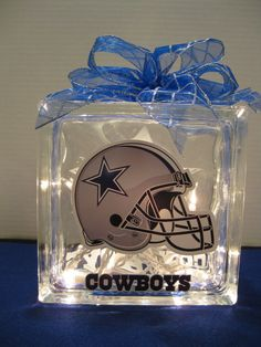 Dallas Cowboy Fans Glass Block