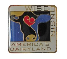 """WISCONSIN America's Dairyland lapel cloisonne vintage pin cow farm by VintageTrafficUSA  14.00 USD  A vintage Wisconsin plastic pin. Excellent condition. Measures: approx 1"""" Add inspiration to your handbag tie jacket backpack hat or wall. Have some individuality = some flair! -------------------------------------------- SECOND ITEM SHIPS FREE IN USA!!! LOW SHIPPING OUTSIDE USA!! VISIT MY STORE FOR MORE ITEMS!!! http://ift.tt/1PTGYrG FOLLOW ME ON FACEBOOK FOR SALE CODES AND UPDATES…"""