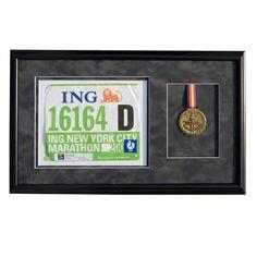 Black Wood Race Bib & Medal Frame for Runners