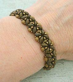 Linda's Crafty Inspirations: Bracelet of the Day: Quick SuperDuo Bracelet - Mocha