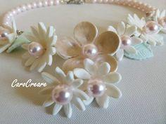 Blütenzauber in Weiß und Rose von CaroCreare auf Etsy