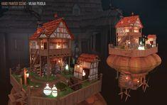 Floating Island of the Potion Brewer Scene, Vilma Pekola on ArtStation at https://www.artstation.com/artwork/floating-island-of-the-potion-brewer-scene