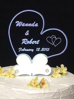 Personalized Acrylic Heart Engraved Wedding Cake Topper With Led Light