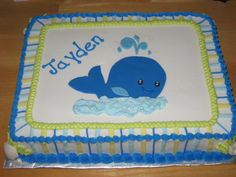 Whale of a Birthday Cake - whale, seahorse and shells are fondant, everything else is buttercream. Cake was made to match the birthday plates. Also saw several cakes on this site similar to this one. Thanks for helping me to figure out how to do this cake.  I can always find what I'm looking for on CC!!