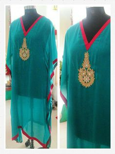 Turquoise blue satin georgette Kaftan, embellished with Zardozi hand-work motifs.  Can be customized in any color. To book your order/any query, contact us: call/whatsapp on +91 9833617147.  Like us? Follow us! https://m.facebook.com/VastranDecorbySoumiyaKhanna  #Fashion #fashionista #fashionblogger #bollywoodfashion #indian #bollywood #stylediva #diva #pretty #boutique #designer #clothing #clothingline #clothingbrand #womenswear #womensbrand #womensfashion #garments #clothes…