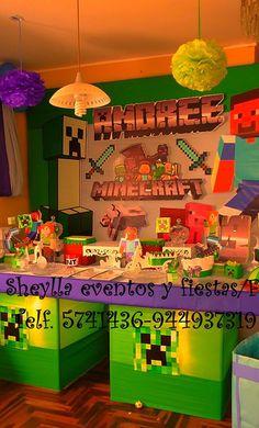 Decoración Minecraft,                                                                 Sheylla eventos y fiestas/facebook,                                               Telf. 5741436-944937319. Lima- Perú.
