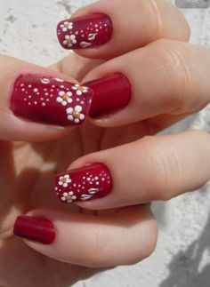 Girls want to have a cute nail designs to look natural and attractive, the trend of fashion changes everyday and having a variety of modern nails manicures that are easy to paint and will also look beautiful makes cute nail art more demanding among women. Flower Nail Designs, Flower Nail Art, Cute Nail Designs, Butterfly Nail, Fancy Nails, Cute Nails, Pretty Nails, Red Nail Art, Red Nails