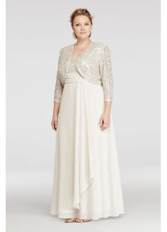 Plus Size Chiffon Mother of Bride/Groom Dress with Sequin Lace Jacket and Bodice - Champagne (Yellow), Mother Of The Bride Plus Size, Mother Of The Bride Dresses Long, Mothers Dresses, Mob Dresses, Fashion Dresses, Bridesmaid Dresses, Formal Dresses, Lounge Dresses, Peplum Dresses
