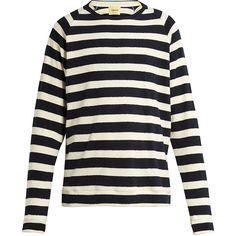 De Bonne Facture Striped cotton terry-towelling sweatshirt (10,445 PHP) ❤ liked on Polyvore featuring men's fashion, men's clothing, men's hoodies, men's sweatshirts, navy multi and mens striped sweatshirt