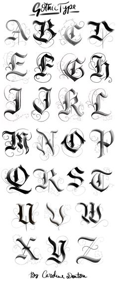 Gotisches Alphabet – … – Graffiti World Gothic Lettering, Graffiti Lettering Fonts, Chicano Lettering, Gothic Fonts, Tattoo Typography, Gothic Script, Tattoo Quotes, Cool Lettering, Tattoo Font Script