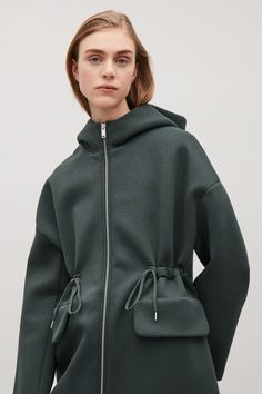 COS image 2 of Drawstring scuba jacket in Khaki Green