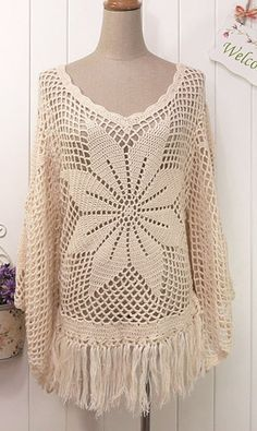 Crochet tassels sweater T044
